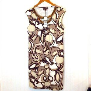 Dana Buchman Abstract Floral Jeweled Neck Line 8